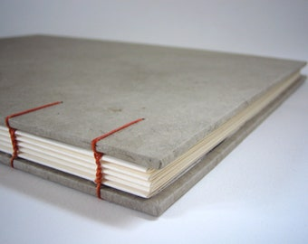Warm Gray Guest Book - Coptic Stitch Binding Orange, Hand Bound, Made to Order