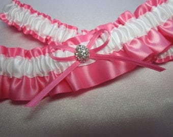 Pink and White Satin Garter Set