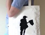 Buffalo Gals, Silkscreen Canvas bag, with Long handles and interior pockets