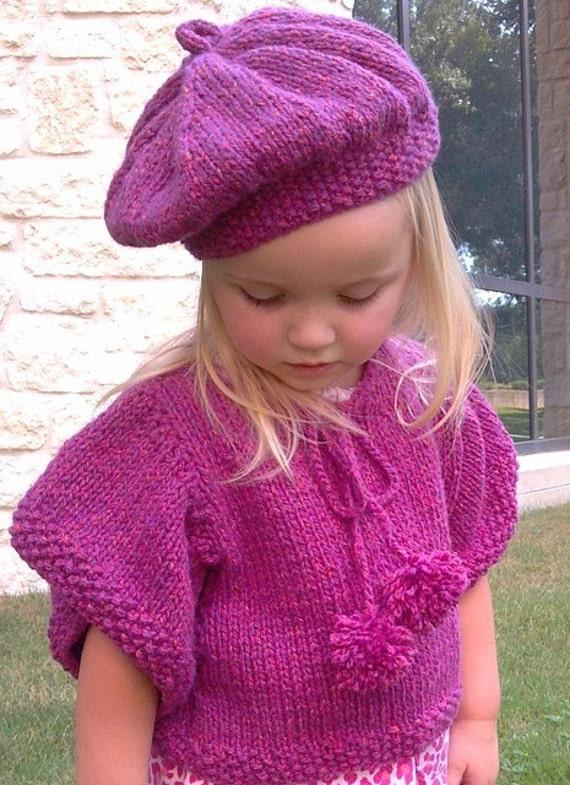 Knitting Pattern,Tesslyn Knit Capelet,Poncho,Beret,girls,toddler girls,kimono sleeves, pom poms,easy to knit,chunky knit, fuschia,gift set