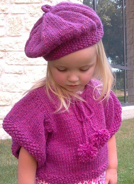 Knitting Pattern,Tesslyn Knit Capelet,Poncho,Beret,girls,toddler girls,kimono...
