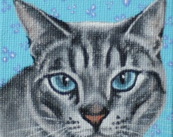 Cat Miniature Painting with Easel
