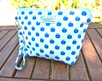 SALE: 30% off - Zippered Wristlet Pouch / Clutch (Small)  - Blue and White Apples Hand Screen Printed Fabric