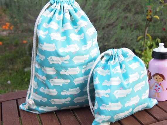 Set of 2 Drawstring Bags - Blue Hippos