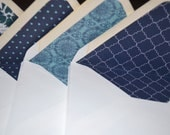Custom Order for Renee, Set of 20 Lined Envelopes, Recycled Content, Navy Prints