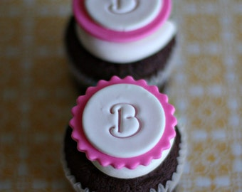 Monogram Fondant Toppers with Initial or Age for Cupcakes, Cookies or Other Treats