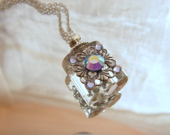 Crystal And Silver Essential Oil / Perfume Bottle Necklace