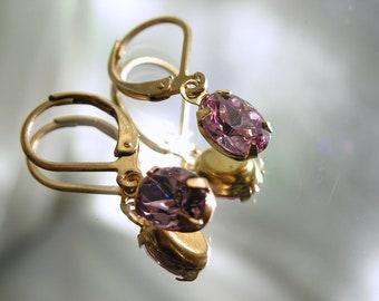Vintage Rose Crystal Rhinestone Earrings