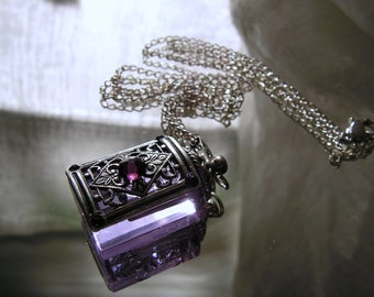 Lavender Crystal Perfume Or Essential Oil Bottle Necklace