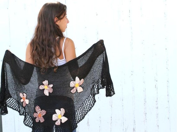 Spring Scarf Rustic black knitting Wrap  Shawl  With Fabric flowers applications