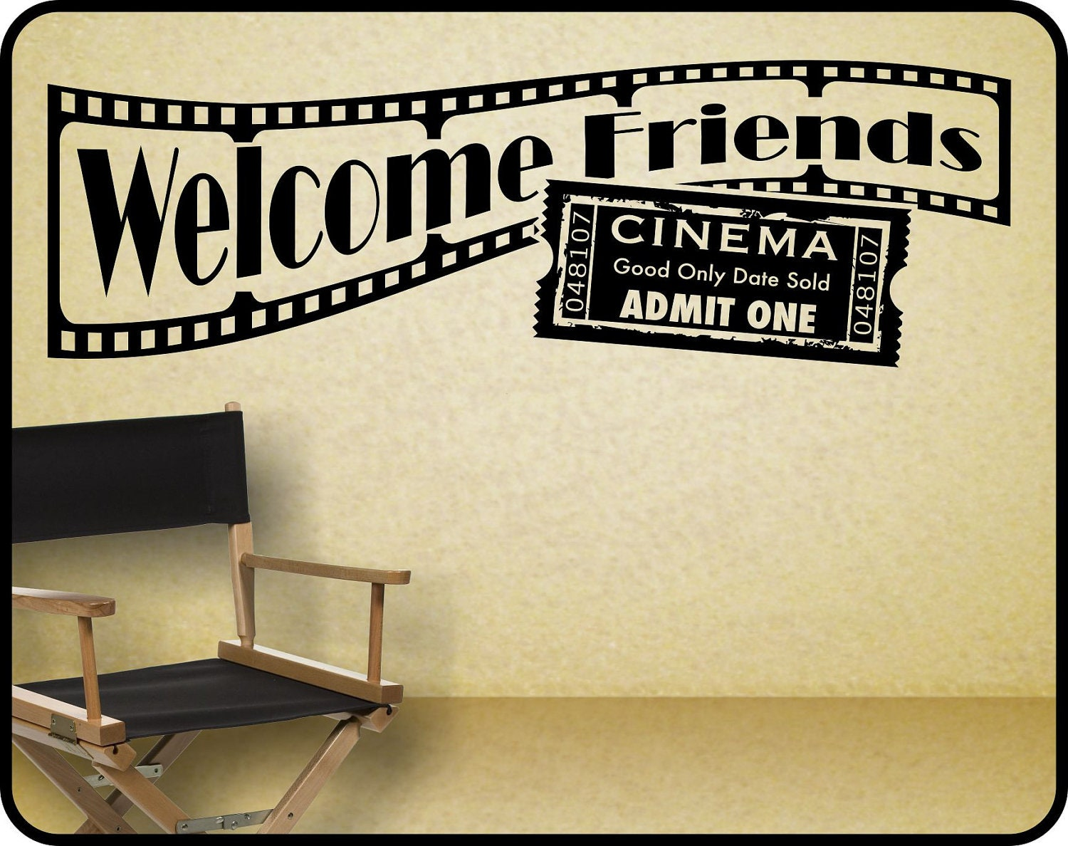 Home theater wall decal sticker decor welcome friends with for Broadway wall mural