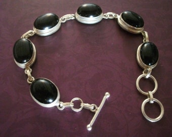 s.a.le.-STERLING SILVER and ONYX bracelet
