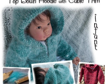 Top Down Hoodie with Cable Trim Knitting Pattern Download