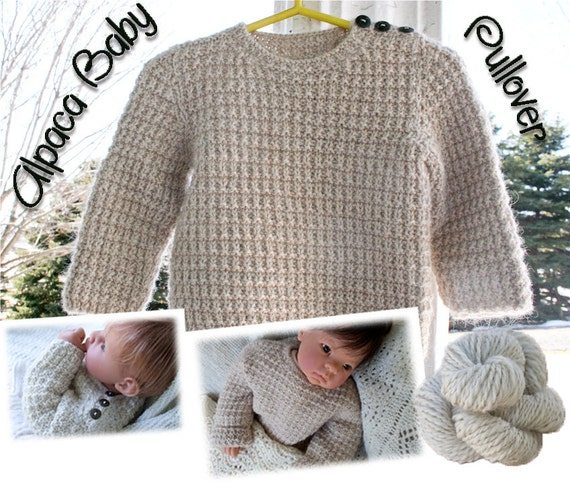 Alpaca Wool Knitting Patterns : Alpaca Baby Sweater Pullover Pattern Download