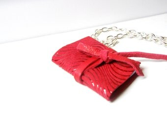 Mini-book necklace - Secret book- leather necklace- Red book pendant- for all Fortune -Telling Birthday secret
