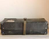 Vintage Black Shipping Box, Industrial Storage Decor