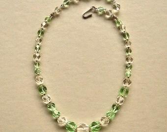 Vintage Green Crystal Necklace