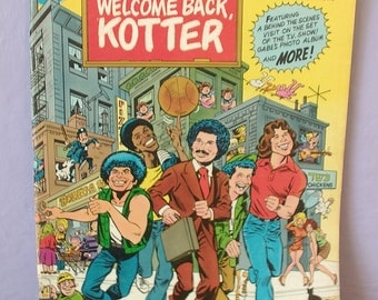 vintage 1970's comic book, Welcome Back Kotter, 1978, large, DC comic book, kitsch, john travolta  television