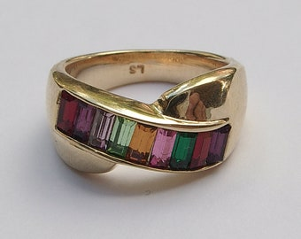 Vintage 1980's LS Lee Sands women's cocktail ring size 6 1/2, gold enamel rhinestone ring, costume jewelry, rainbow ring, Gay Lesbian gift