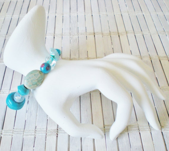 Bright Blue Beaded Bracelet, Upcycled Jewelry by RetroRevivalBoutique