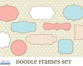 Journal Tags - Doodle Frames Clipart  - Set 17 with Brushes & Custom Shapes