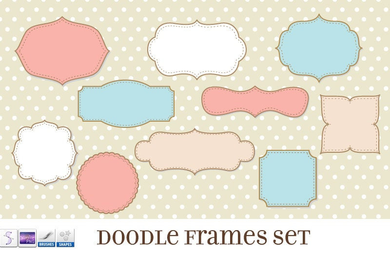 Journal Tags Doodle Frames Clipart Set 17 with Brushes