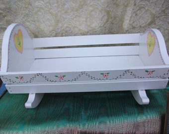 Doll bed. Hand painted.