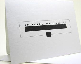 Monogram Note Card Custom Personalized Modern Bold Black White Geometric Wedding Thank You Name Initials Logo