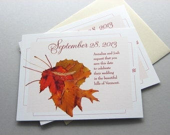 Fall Wedding Save the Date Autumn Leaves Rust Gold Red Oak Maple Traditional Wedding Classic Autumn