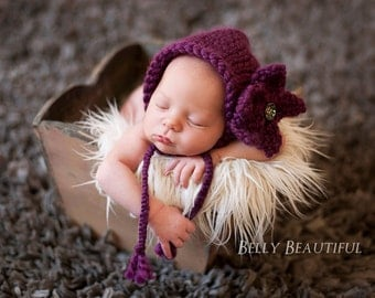 Simple Chunky Bonnet Knitting Pattern - 5 Sizes Included - PDF Sale - Instant Digital Download