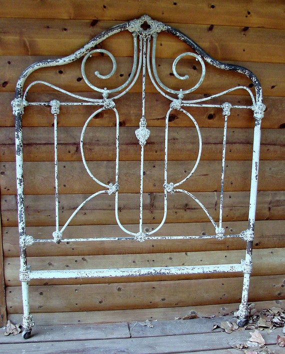 Chippy  Brass and Iron Complete Bed 1800s Shabby Chic At Its Best Head Footboards and Rails Reserved do not buy