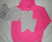 Elephant trunk sleeve HOODIE sweatshirt sweater jumper Cherry Pink Small