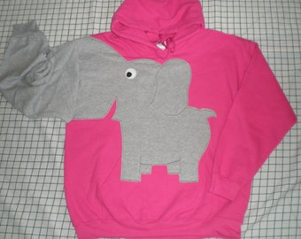 Elephant trunk sleeve HOODIE sweatshirt sweater jumper Cherry Pink Small
