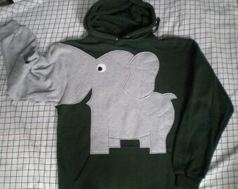 Elephant trunk sleeve HOODIE sweatshirt, hunter green, adult unisex small, fun animal shirt