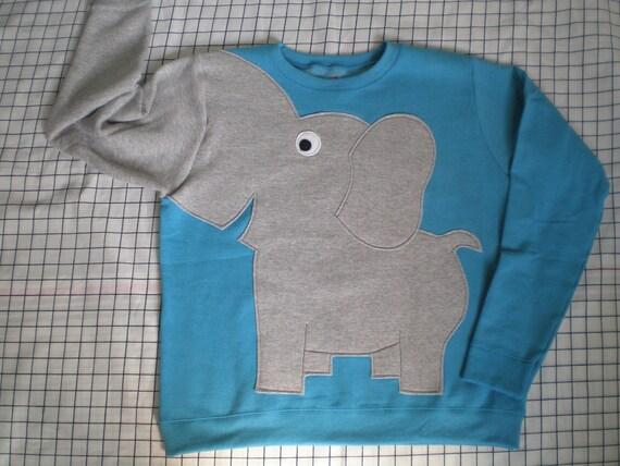 Elephant Trunk sleeve sweatshirt sweater jumper LADiES L Light PEACOCK blue