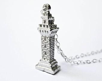 Vintage Castle Tower Necklace - Medieval Necklace - Renaissance Jewelry - Castle Necklace - Rapunzel - Fairy Tale Necklace