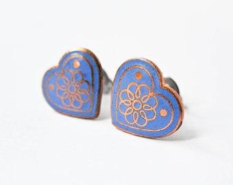 Enamel Heart Earrings - Periwinkle Blue - Surgical Steel Earrings - Stud Earrings - Heart Jewelry - Valentine's Day Jewelry