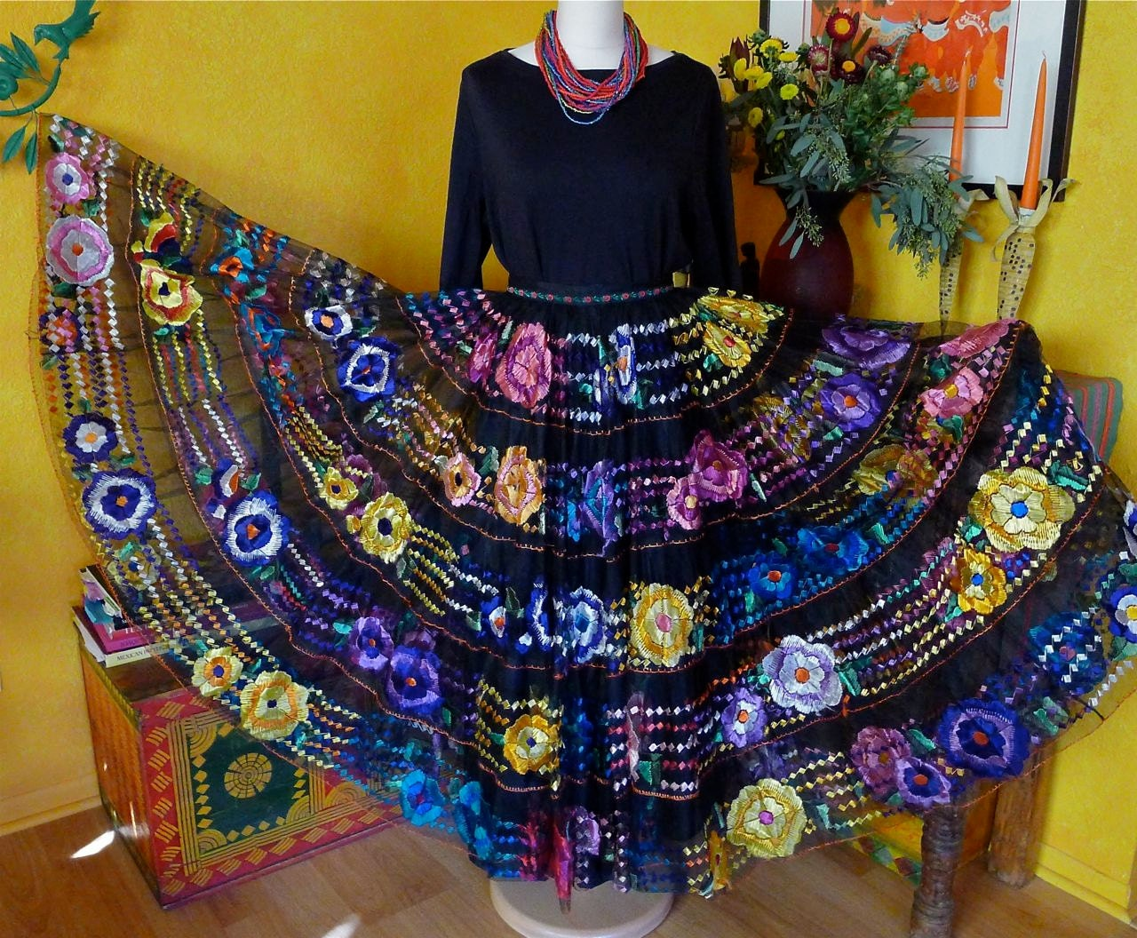 Reserve mexican embroidered skirt chiapa de corzo dance