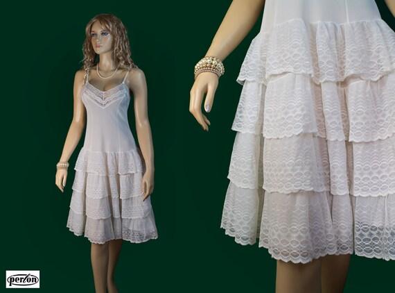 Pleated crinoline petticoat 1950s fifties vintage full slip in Perlon - (2115)