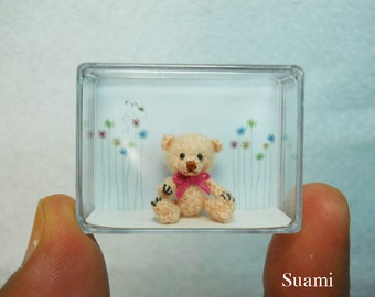 Miniature Bear 0.8 Inch - Micro Amigurumi Mini Crochet Mohair Bears - Made To Order