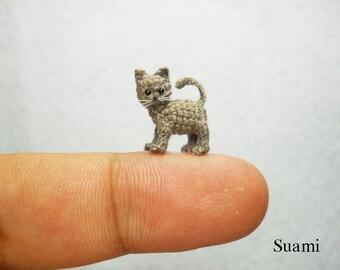 Micro Miniature Grey Cat Kitten - Mini Tiny Crochet Cat Amigurumi Animal Doll - Made to Order