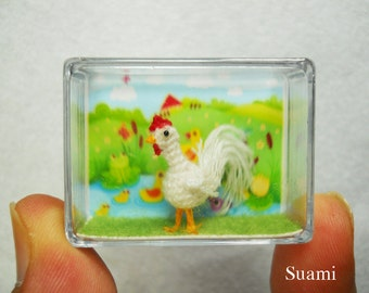 White Rooster - Micro Crochet Miniature Cockerel Cock - Made To Order