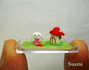 Ultratiny Bunny Rabbit - Micro Crochet Tiny Stuffed Animal - Made To Order