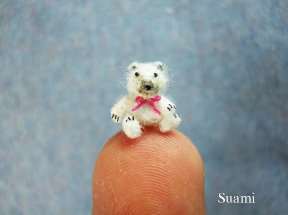 OOAK Micro Polar Bear 0.4 Inch - Extreme Tiny Thread Artist Crochet  Mohair Bear Pink Bow