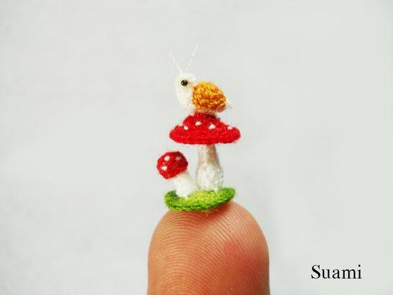 Snail and Mushroom - Micro Amigurumi Crochet Tiny Stuffed Animal - Made To Order