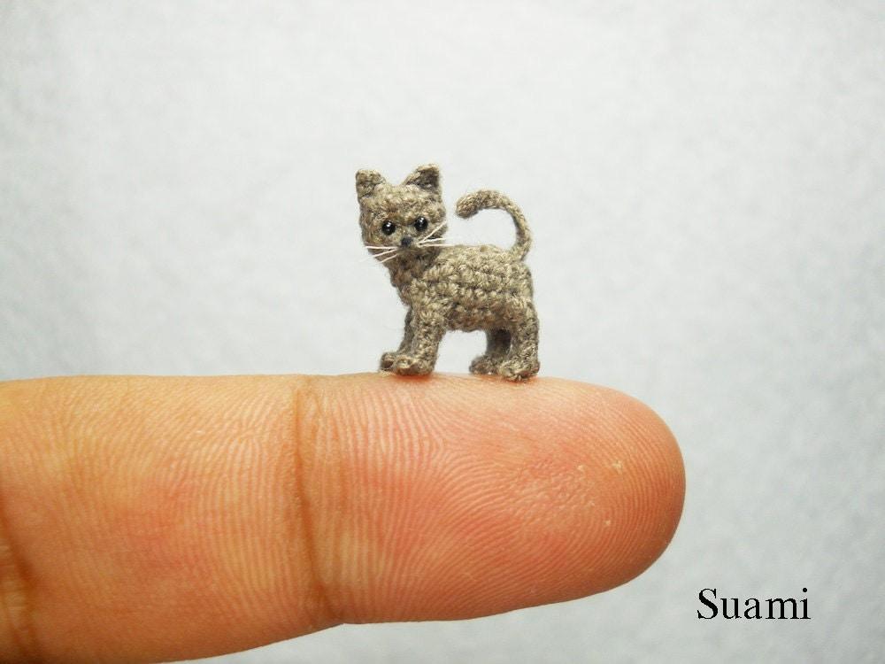 Amigurumi Small Cat : Micro Miniature Grey Cat Kitten Mini Tiny Crochet Cat