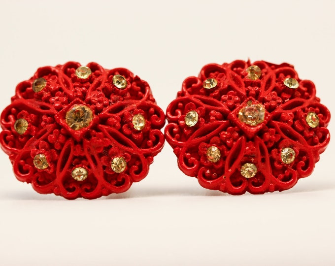 Red Rhinestone Cuff Links Vintage Cufflinks Unique 7E
