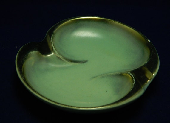 Mid Century Ashtray Mint & Gold from Germany