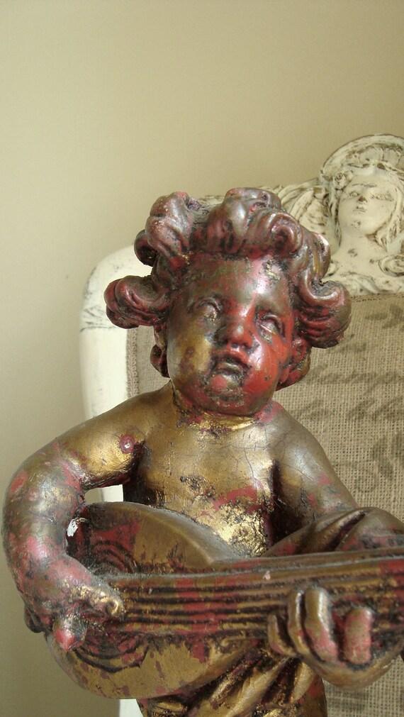 Antique Italian Cherub Statue Putti Italian Florentine Red Gold Borghese