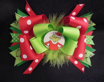 The Grinch inspired hairbow